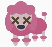 Pink Poodle Dog Emoji Fainted and Knock Out Look One Piece - Short Sleeve