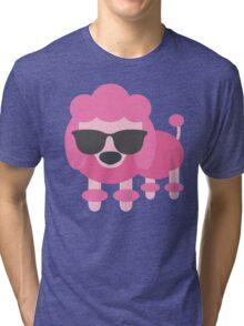 Pink Poodle Dog Emoji Cool Sunglasses Look Tri-blend T-Shirt