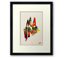 Maine Typographic Watercolor Map Framed Print