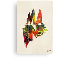 Maine Typographic Watercolor Map Metal Print