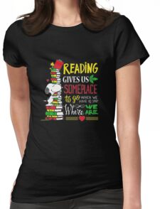 Strend Reading Books T-shirt Gift For Reading Womens Fitted T-Shirt