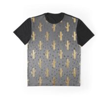 Gold Cactus on Modern Chic Geo Triangles Gradient Graphic T-Shirt
