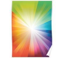 Rainbow Explosion; Abstract Digital Vector Art Poster