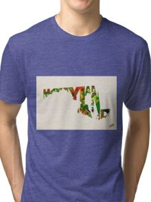 Maryland Typographic Watercolor Map Tri-blend T-Shirt