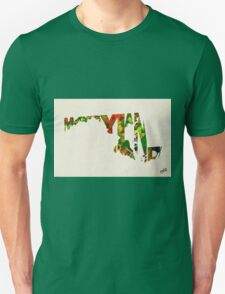 Maryland Typographic Watercolor Map Unisex T-Shirt