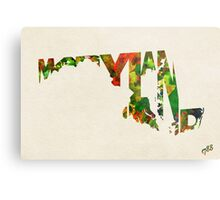 Maryland Typographic Watercolor Map Metal Print