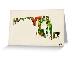 Maryland Typographic Watercolor Map Greeting Card