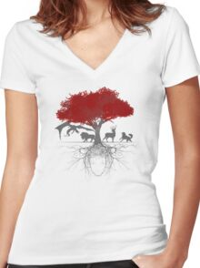 Three-eyed raven tree Women's Fitted V-Neck T-Shirt