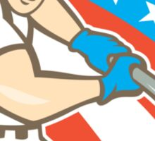 American Baseball Player Batting Circle Cartoon Sticker