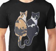 Best Cat Friends - Teal Background / blue calico tuxedo kitty sitting tails friends bffs portrait art illustration drawing Unisex T-Shirt