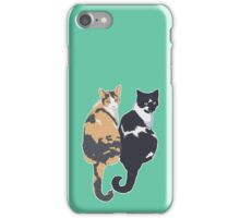 Best Cat Friends - Teal Background / blue calico tuxedo kitty sitting tails friends bffs portrait art illustration drawing iPhone Case/Skin