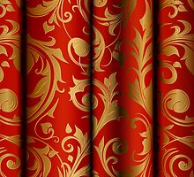 Red Curtain Call; Abstract Digital Vector Art by Mynameisparrish