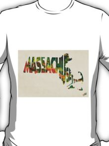 Massachusetts Typographic Watercolor Map T-Shirt