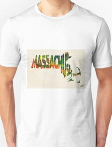 Massachusetts Typographic Watercolor Map Unisex T-Shirt