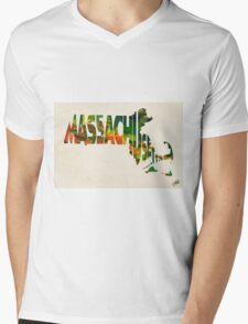 Massachusetts Typographic Watercolor Map T-Shirt