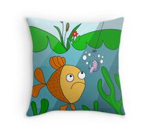 Fish and worm  Throw Pillow