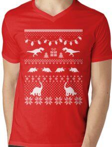 Dinosaur Ugly Sweater Funny Christmas Mens V-Neck T-Shirt