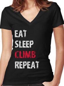 Eat Sleep Climb Repeat Sport Shirt Funny Cute Gift For Climbing Climber Women's Fitted V-Neck T-Shirt