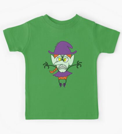 Scary Halloween Witch Emoticon Kids Tee