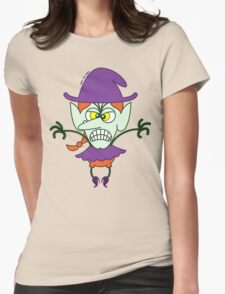 Scary Halloween Witch Emoticon Womens Fitted T-Shirt