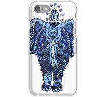 Elephant Zen Doodle Blue iPhone Case/Skin