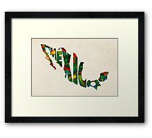 Mexico Typographic Watercolor Map Framed Print