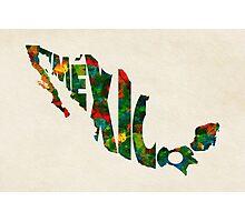 Mexico Typographic Watercolor Map Photographic Print