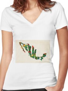 Mexico Typographic Watercolor Map Women's Fitted V-Neck T-Shirt