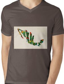 Mexico Typographic Watercolor Map Mens V-Neck T-Shirt