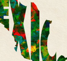 Mexico Typographic Watercolor Map Sticker