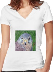 Kestrel - Close Up of face Women's Fitted V-Neck T-Shirt