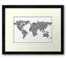 World Map white Framed Print