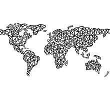 World Map white Photographic Print