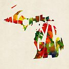 Michigan Typographic Watercolor Map by Deniz Akerman