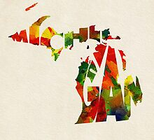 Michigan Typographic Watercolor Map by A. TW