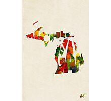 Michigan Typographic Watercolor Map Photographic Print