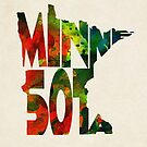 Minnesota Typographic Watercolor Map by Deniz Akerman