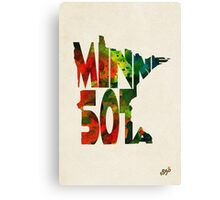 Minnesota Typographic Watercolor Map Canvas Print