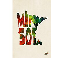 Minnesota Typographic Watercolor Map Photographic Print