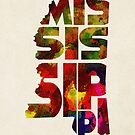 Mississippi Typographic Watercolor Map by Deniz Akerman