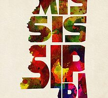 Mississippi Typographic Watercolor Map by A. TW