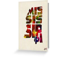 Mississippi Typographic Watercolor Map Greeting Card