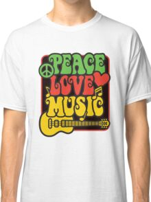 Rasta Peace, Love, Music Classic T-Shirt