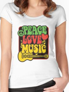 Rasta Peace, Love, Music Women's Fitted Scoop T-Shirt