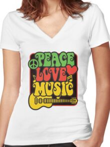 Rasta Peace, Love, Music Women's Fitted V-Neck T-Shirt