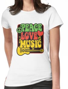 Rasta Peace, Love, Music Womens Fitted T-Shirt