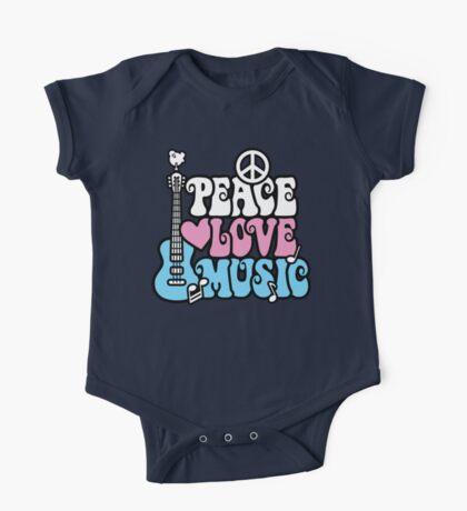 Peace, Love, Music One Piece - Short Sleeve