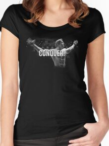 Arnold Schwarzenegger Mr Olympia Conquer  Women's Fitted Scoop T-Shirt