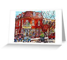 MONTREAL CORNER DEPANNEUR WINTER SCENE STREET HOCKEY ART  Greeting Card