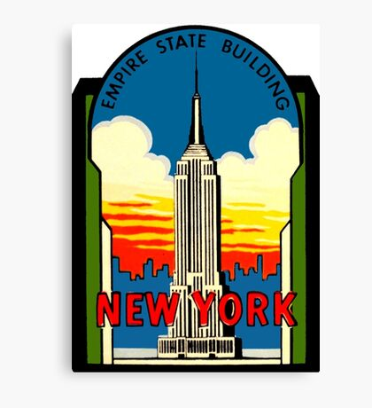 Empire State Building New York City Vintage Travel Decal Canvas Print